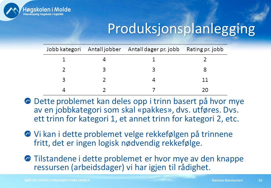 Rasmus RasmussenBØK710 OPERASJONSANALYTISKE EMNER16 Dette problemet kan deles opp i trinn basert på hvor mye av en jobbkategori som skal «pakkes», dvs.