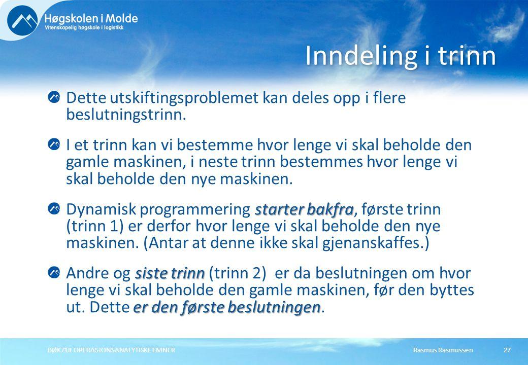 Rasmus RasmussenBØK710 OPERASJONSANALYTISKE EMNER27 Dette utskiftingsproblemet kan deles opp i flere beslutningstrinn.