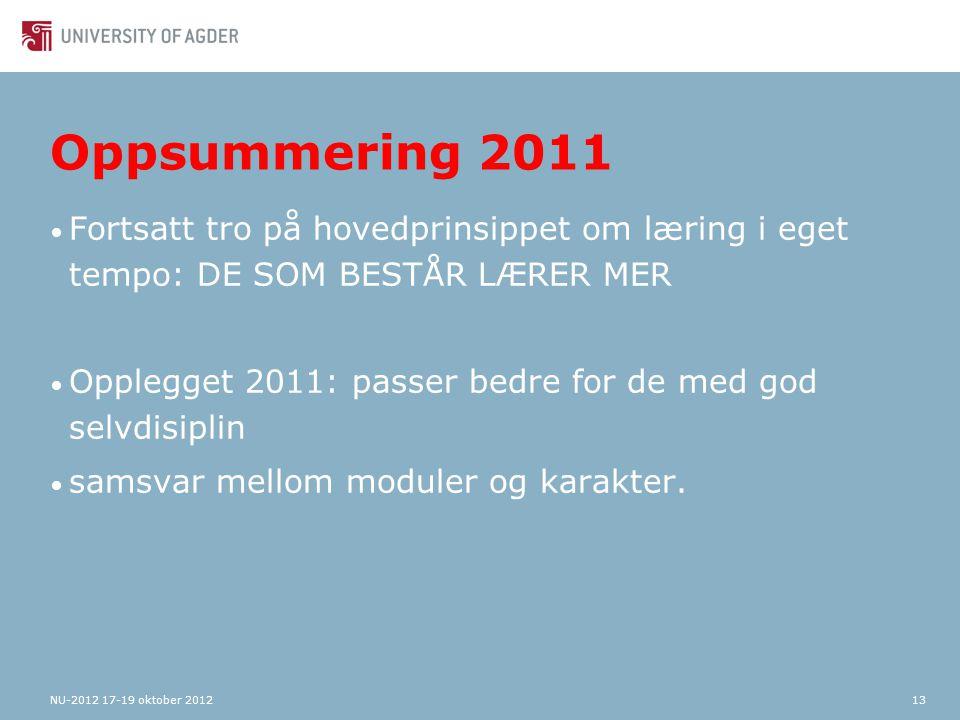 Oppsummering 2011 Fortsatt tro på hovedprinsippet om læring i eget tempo: DE SOM BESTÅR LÆRER MER Opplegget 2011: passer bedre for de med god selvdisiplin samsvar mellom moduler og karakter.
