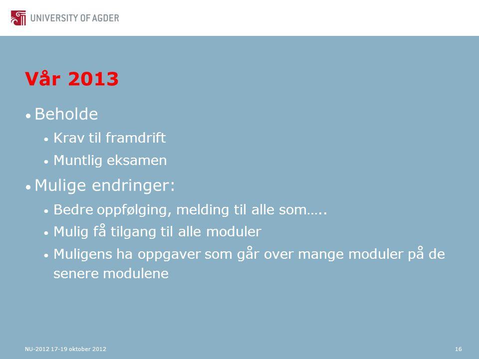 Vår 2013 Beholde Krav til framdrift Muntlig eksamen Mulige endringer: Bedre oppfølging, melding til alle som…..