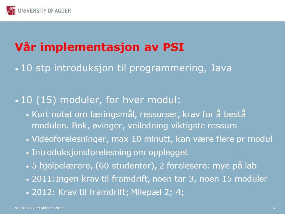 7 Ressurser https://fronter.com/uia/index.phtml Ex: Klasser og objekter i BlueJ