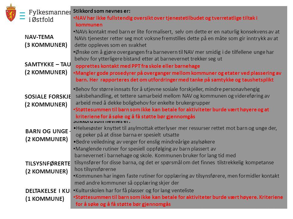 NAV-TEMA (3 KOMMUNER) SAMTYKKE – TAUSHETSPLIKT (2 KOMMUNER) SOSIALE FORSKJELLER (2 KOMMUNER) BARN OG UNGE – ASYLTEMAET (2 KOMMUNER) TILSYSNFØRERTEAMET