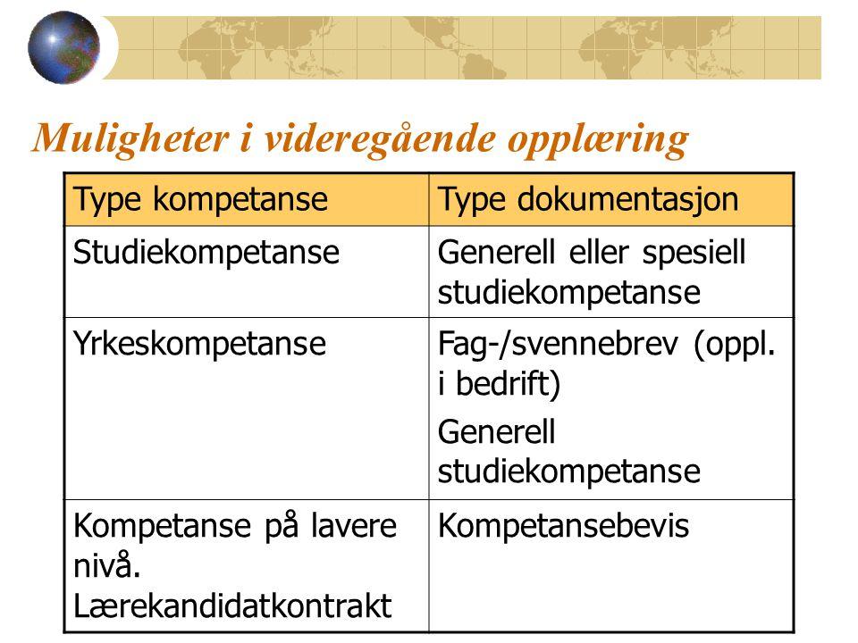Type kompetanseType dokumentasjon StudiekompetanseGenerell eller spesiell studiekompetanse YrkeskompetanseFag-/svennebrev (oppl. i bedrift) Generell s