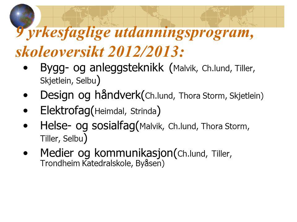 9 yrkesfaglige utdanningsprogram, skoleoversikt 2012/2013: Bygg- og anleggsteknikk ( Malvik, Ch.lund, Tiller, Skjetlein, Selbu ) Design og håndverk( Ch.lund, Thora Storm, Skjetlein) Elektrofag( Heimdal, Strinda ) Helse- og sosialfag( Malvik, Ch.lund, Thora Storm, Tiller, Selbu ) Medier og kommunikasjon( Ch.lund, Tiller, Trondheim Katedralskole, Byåsen)