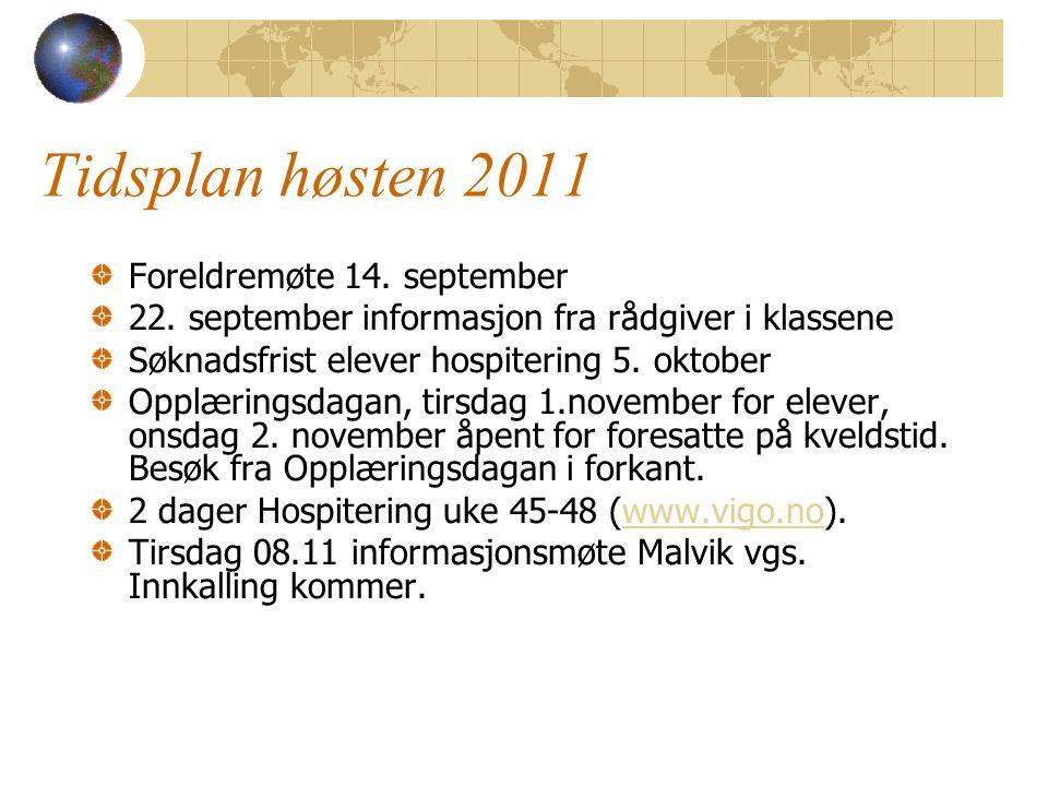 Tidsplan høsten 2011 Foreldremøte 14. september 22. september informasjon fra rådgiver i klassene Søknadsfrist elever hospitering 5. oktober Opplæring