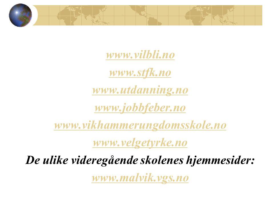 www.vilbli.no www.stfk.no www.utdanning.no www.jobbfeber.no www.vikhammerungdomsskole.no www.velgetyrke.no De ulike videregående skolenes hjemmesider: