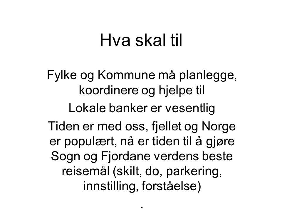 Hva skal til Fylke og Kommune må planlegge, koordinere og hjelpe til Lokale banker er vesentlig Tiden er med oss, fjellet og Norge er populært, nå er