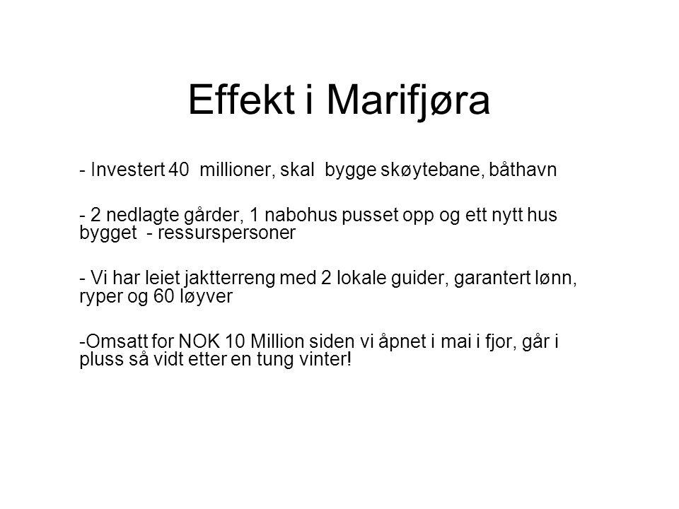 Effekt i Marifjøra - Investert 40 millioner, skal bygge skøytebane, båthavn - 2 nedlagte gårder, 1 nabohus pusset opp og ett nytt hus bygget - ressurs