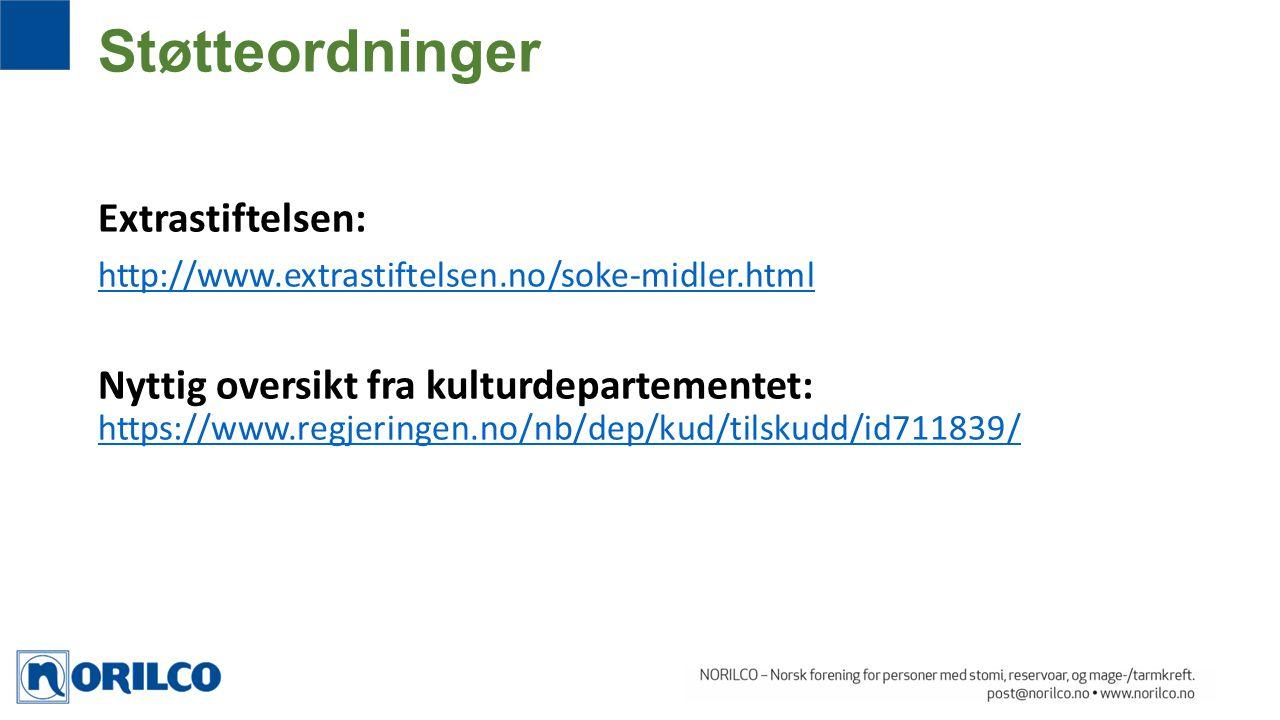 Extrastiftelsen: http://www.extrastiftelsen.no/soke-midler.html Nyttig oversikt fra kulturdepartementet: https://www.regjeringen.no/nb/dep/kud/tilskud