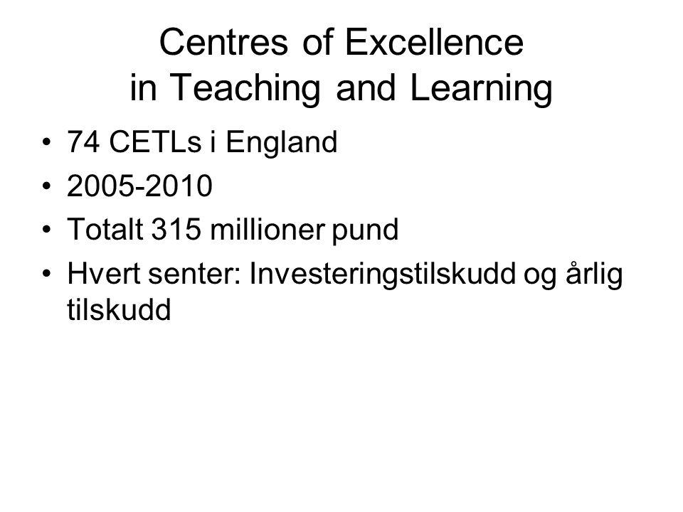 Centres of Excellence in Teaching and Learning 74 CETLs i England 2005-2010 Totalt 315 millioner pund Hvert senter: Investeringstilskudd og årlig tils