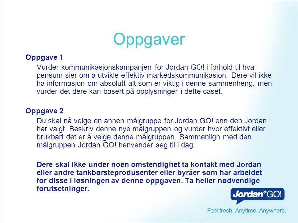 Oppgaver Oppgave 1 Vurder kommunikasjonskampanjen for Jordan GO.