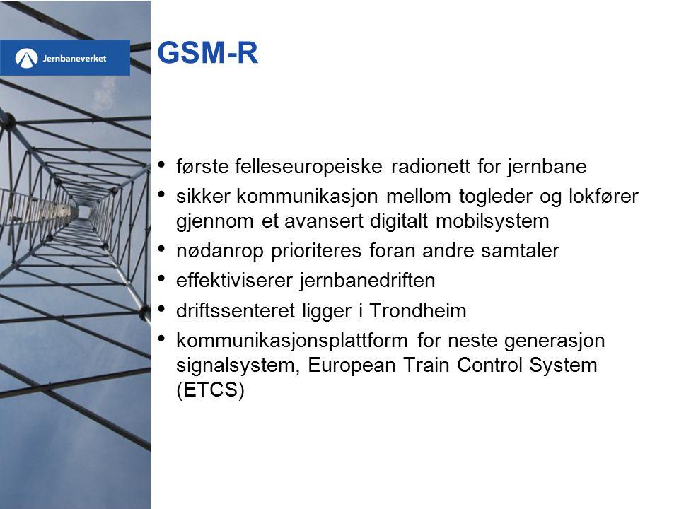 GSM-R første felleseuropeiske radionett for jernbane sikker kommunikasjon mellom togleder og lokfører gjennom et avansert digitalt mobilsystem nødanrop prioriteres foran andre samtaler effektiviserer jernbanedriften driftssenteret ligger i Trondheim kommunikasjonsplattform for neste generasjon signalsystem, European Train Control System (ETCS)