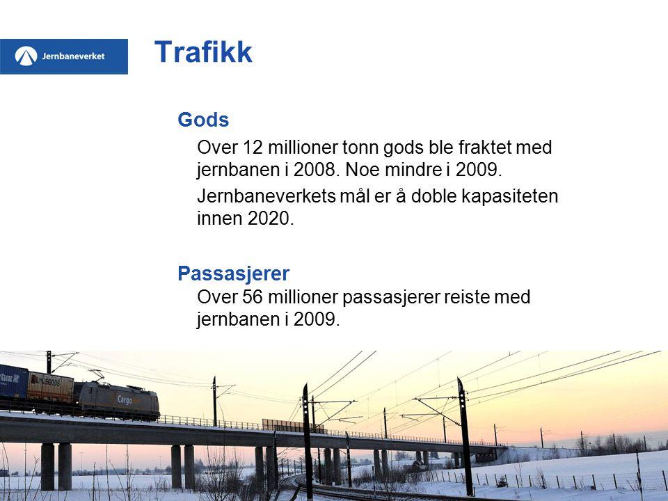 Trafikk Gods Over 12 millioner tonn gods ble fraktet med jernbanen i 2008.