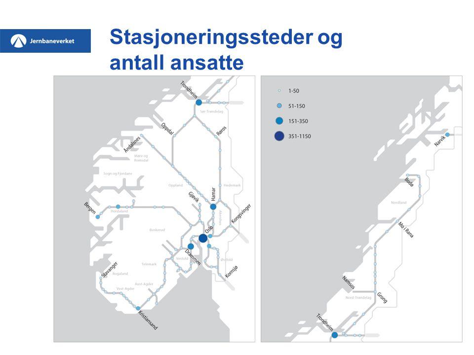 Stasjoneringssteder og antall ansatte