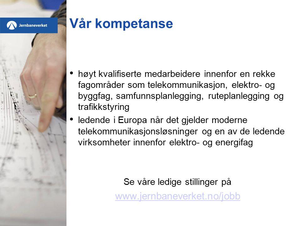 Vår kompetanse høyt kvalifiserte medarbeidere innenfor en rekke fagområder som telekommunikasjon, elektro- og byggfag, samfunnsplanlegging, ruteplanlegging og trafikkstyring ledende i Europa når det gjelder moderne telekommunikasjonsløsninger og en av de ledende virksomheter innenfor elektro- og energifag Se våre ledige stillinger på www.jernbaneverket.no/jobb