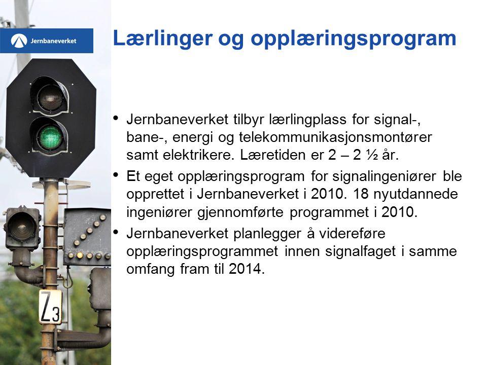 Lærlinger og opplæringsprogram Jernbaneverket tilbyr lærlingplass for signal-, bane-, energi og telekommunikasjonsmontører samt elektrikere.