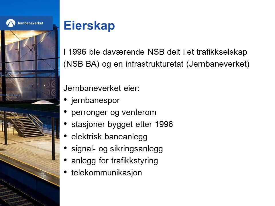 Eierskap I 1996 ble daværende NSB delt i et trafikkselskap (NSB BA) og en infrastrukturetat (Jernbaneverket) Jernbaneverket eier: jernbanespor perronger og venterom stasjoner bygget etter 1996 elektrisk baneanlegg signal- og sikringsanlegg anlegg for trafikkstyring telekommunikasjon