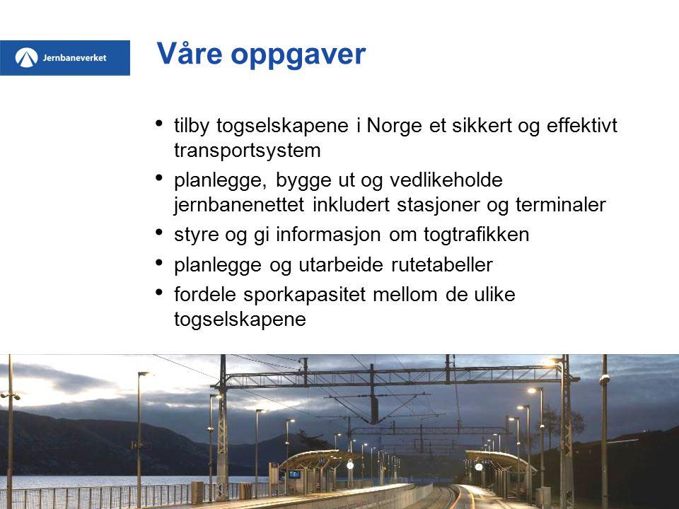 Våre oppgaver tilby togselskapene i Norge et sikkert og effektivt transportsystem planlegge, bygge ut og vedlikeholde jernbanenettet inkludert stasjoner og terminaler styre og gi informasjon om togtrafikken planlegge og utarbeide rutetabeller fordele sporkapasitet mellom de ulike togselskapene