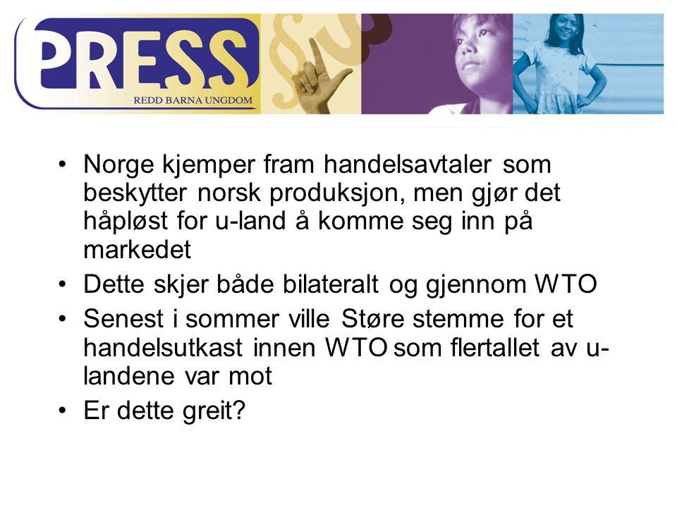 Norge kjemper fram handelsavtaler som beskytter norsk produksjon, men gjør det håpløst for u-land å komme seg inn på markedet Dette skjer både bilateralt og gjennom WTO Senest i sommer ville Støre stemme for et handelsutkast innen WTO som flertallet av u- landene var mot Er dette greit