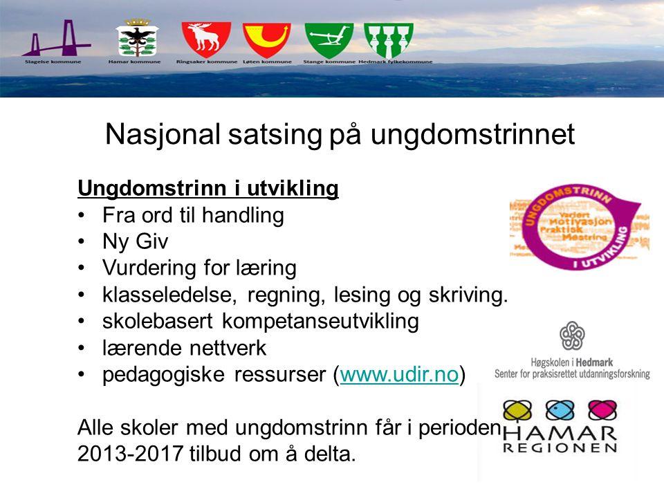 Ungdomstrinn i utvikling Fra ord til handling Ny Giv Vurdering for læring klasseledelse, regning, lesing og skriving. skolebasert kompetanseutvikling