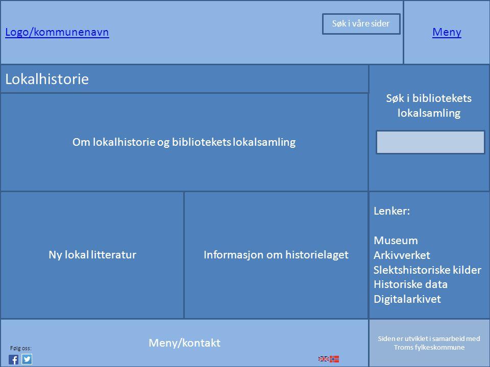 Logo/kommunenavnMeny Meny/kontakt Siden er utviklet i samarbeid med Troms fylkeskommune Lenker: Museum Arkivverket Slektshistoriske kilder Historiske