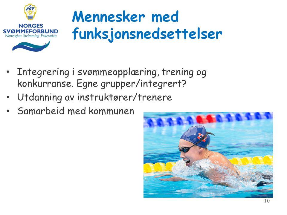 Mennesker med funksjonsnedsettelser Integrering i svømmeopplæring, trening og konkurranse.