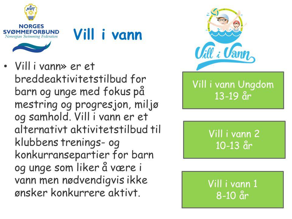 Vill i vann» er et breddeaktivitetstilbud for barn og unge med fokus på mestring og progresjon, miljø og samhold.