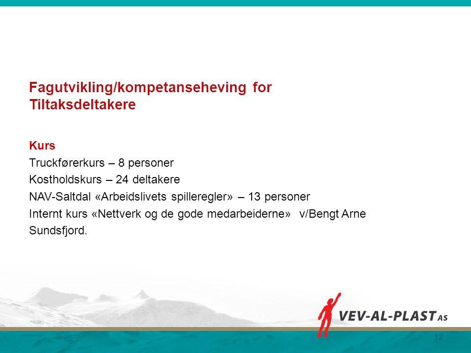 Fagutvikling/kompetanseheving for Tiltaksdeltakere Kurs Truckførerkurs – 8 personer Kostholdskurs – 24 deltakere NAV-Saltdal «Arbeidslivets spilleregl