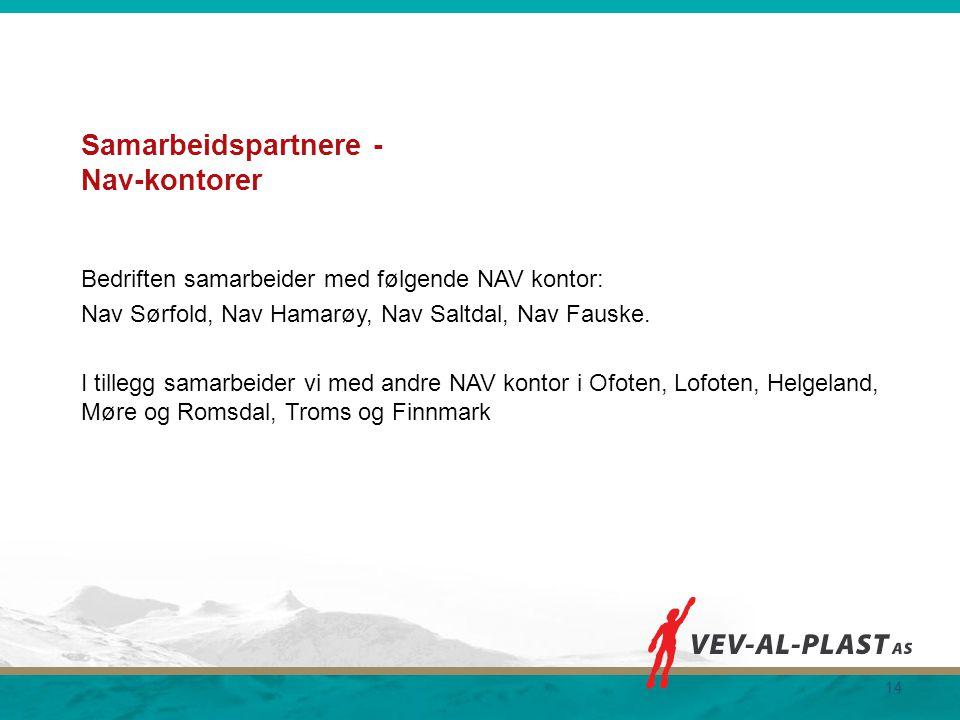 Samarbeidspartnere - Nav-kontorer Bedriften samarbeider med følgende NAV kontor: Nav Sørfold, Nav Hamarøy, Nav Saltdal, Nav Fauske. I tillegg samarbei