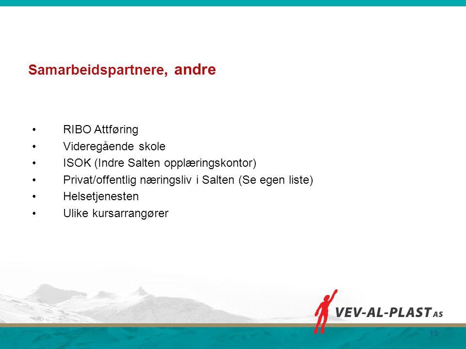 Samarbeidspartnere, andre RIBO Attføring Videregående skole ISOK (Indre Salten opplæringskontor) Privat/offentlig næringsliv i Salten (Se egen liste)