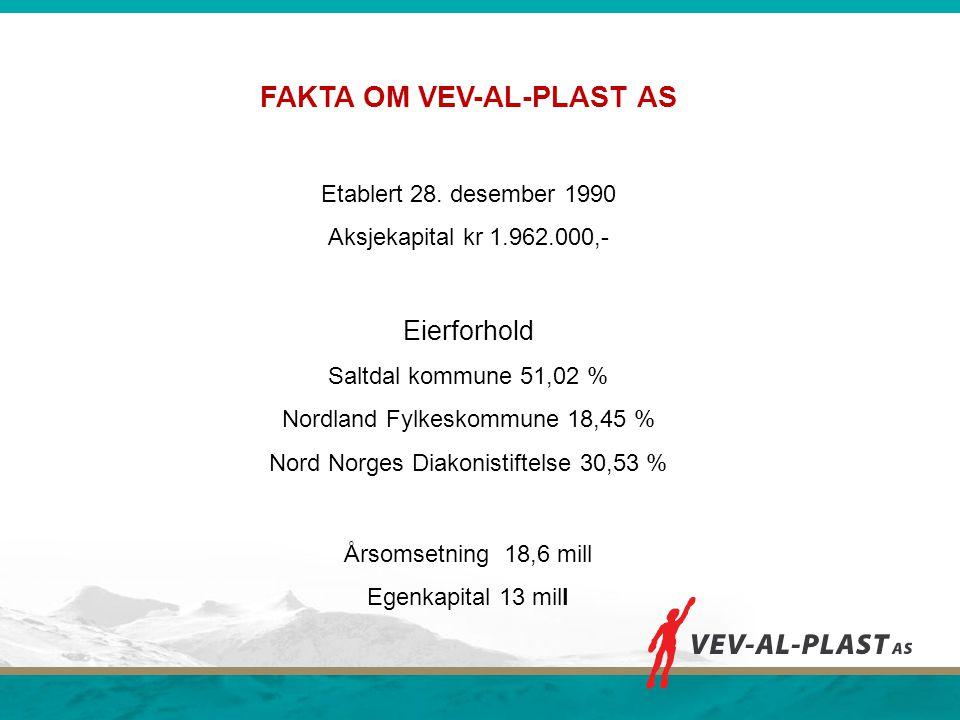 FAKTA OM VEV-AL-PLAST AS Etablert 28. desember 1990 Aksjekapital kr 1.962.000,- Eierforhold Saltdal kommune 51,02 % Nordland Fylkeskommune 18,45 % Nor