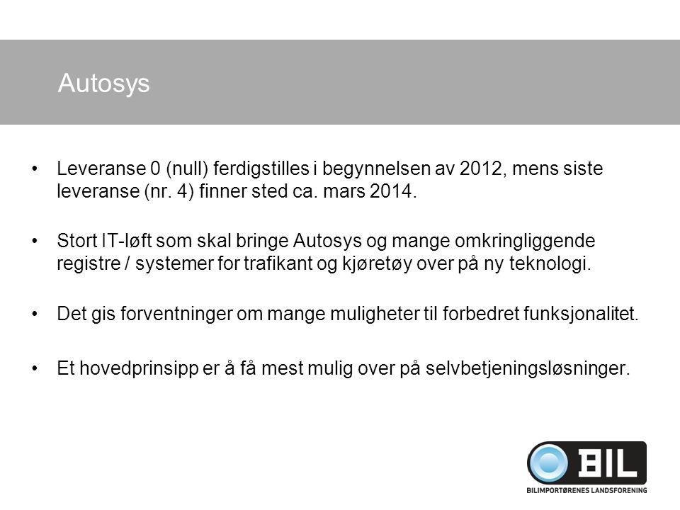 Autosys Leveranse 0 (null) ferdigstilles i begynnelsen av 2012, mens siste leveranse (nr. 4) finner sted ca. mars 2014. Stort IT-løft som skal bringe