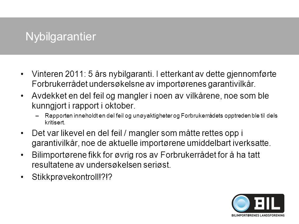 Nybilgarantier Vinteren 2011: 5 års nybilgaranti. I etterkant av dette gjennomførte Forbrukerrådet undersøkelsne av importørenes garantivilkår. Avdekk