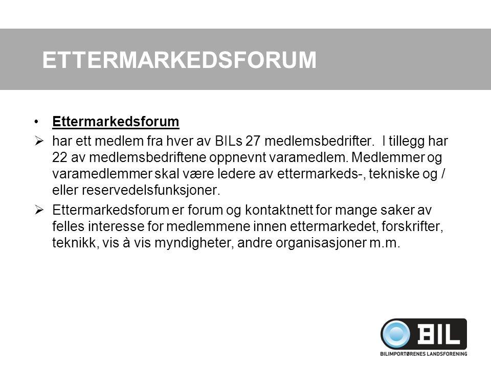 Ettermarkedsforum  har ett medlem fra hver av BILs 27 medlemsbedrifter. I tillegg har 22 av medlemsbedriftene oppnevnt varamedlem. Medlemmer og varam