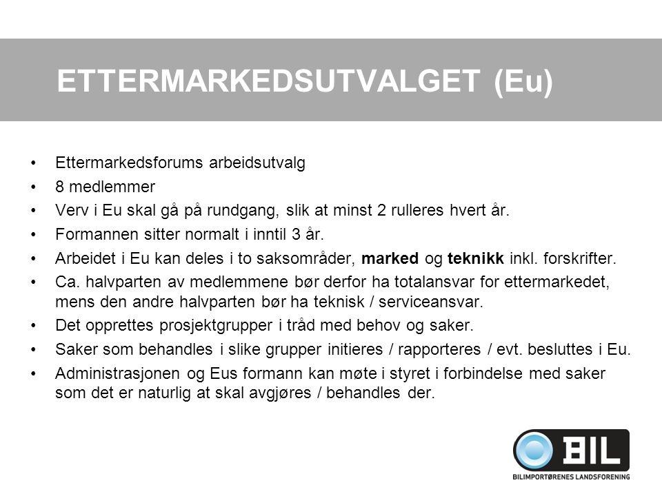 Ettermarkedsforums arbeidsutvalg 8 medlemmer Verv i Eu skal gå på rundgang, slik at minst 2 rulleres hvert år.