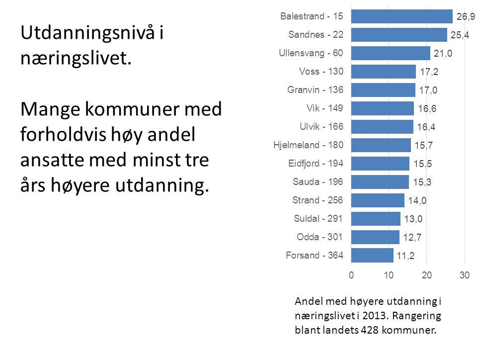 Andel med høyere utdanning i næringslivet i 2013. Rangering blant landets 428 kommuner.