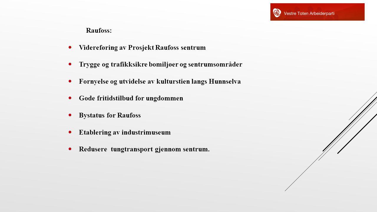 Raufoss:  Videreføring av Prosjekt Raufoss sentrum  Trygge og trafikksikre bomiljøer og sentrumsområder  Fornyelse og utvidelse av kulturstien lang
