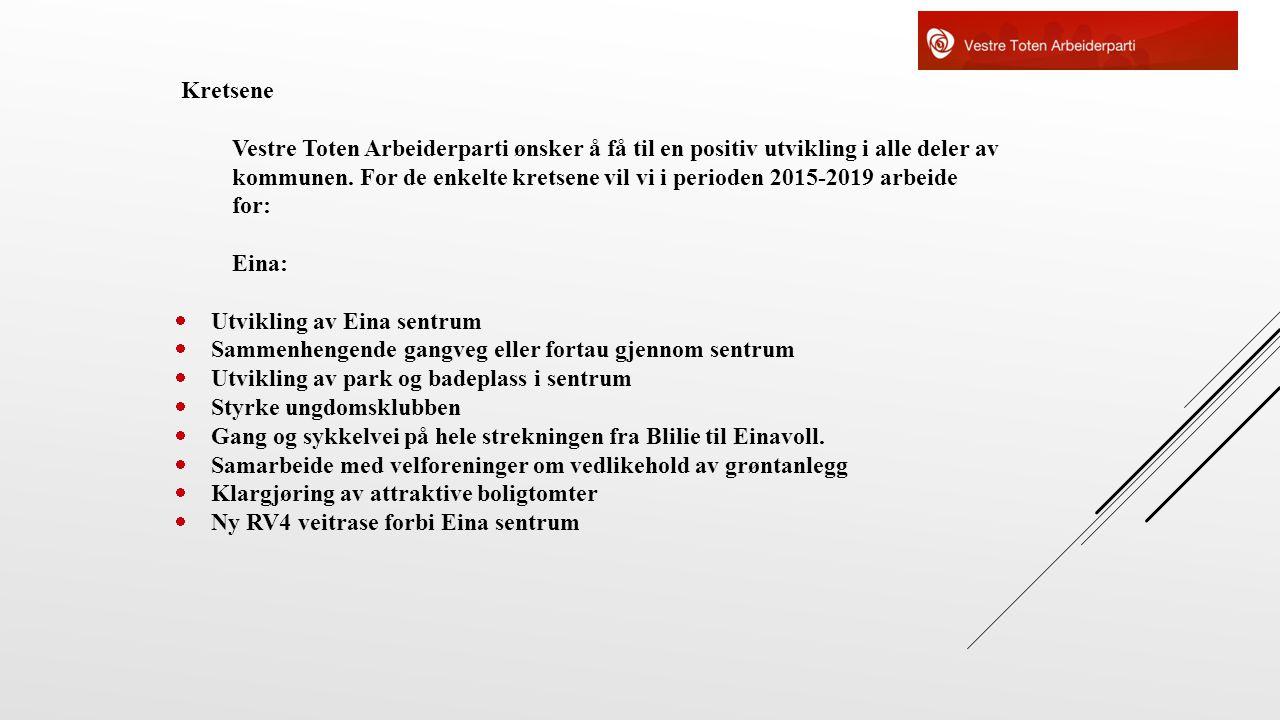 Kretsene Vestre Toten Arbeiderparti ønsker å få til en positiv utvikling i alle deler av kommunen. For de enkelte kretsene vil vi i perioden 2015-2019