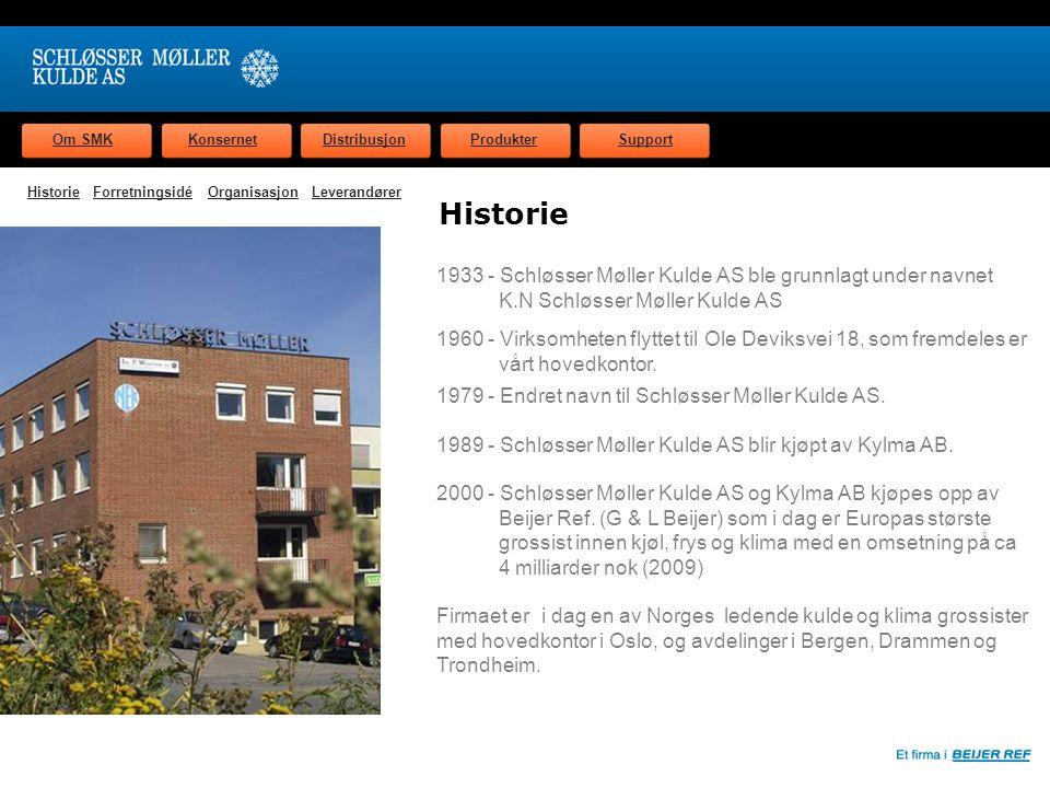 Om SMKKonsernetDistribusjonProdukterSupport Forretningsidé Schløsser Møller Kulde AS skal som totalleverandør markedsføre og levere komponenter, systemer og tjenester med høy kvalitet til den norske kulde og klimabransjen.