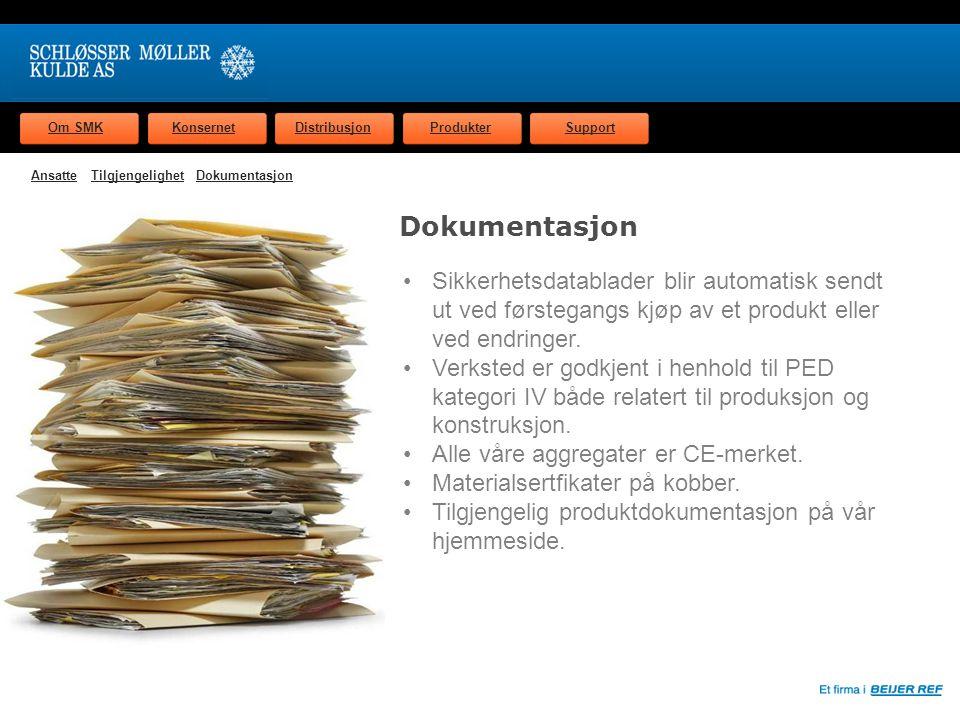 Om SMKKonsernetDistribusjonProdukterSupport Dokumentasjon Sikkerhetsdatablader blir automatisk sendt ut ved førstegangs kjøp av et produkt eller ved endringer.