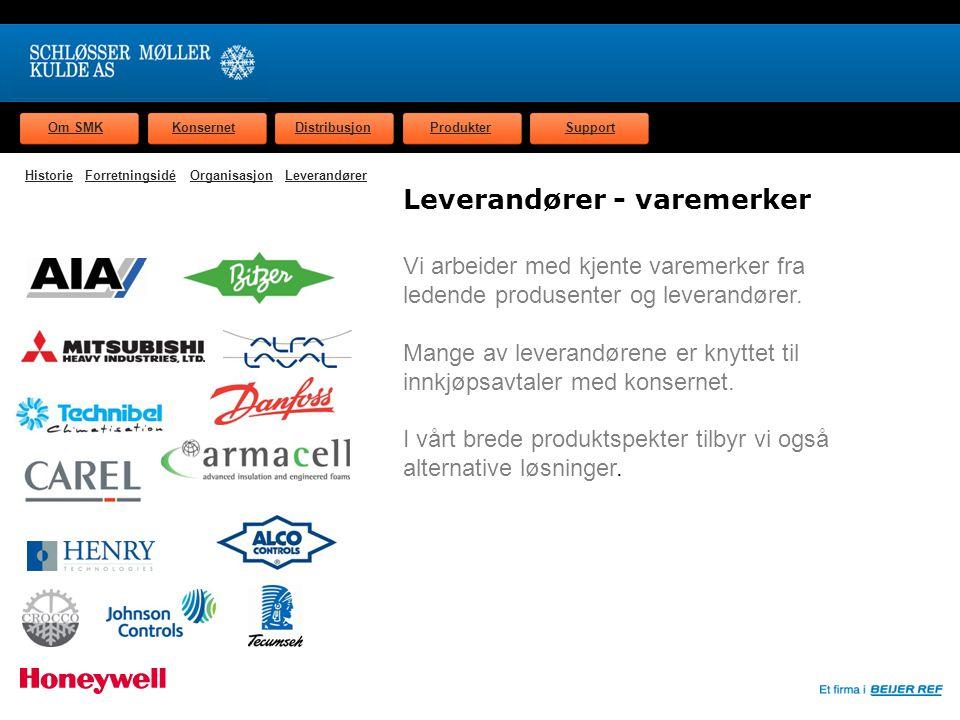 Om SMKKonsernetDistribusjonProdukterSupport Leverandører - varemerker Vi arbeider med kjente varemerker fra ledende produsenter og leverandører.