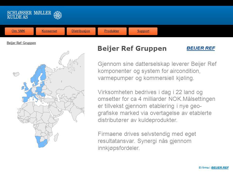Om SMKKonsernetDistribusjonProdukterSupport Beijer Ref Gruppen Gjennom sine datterselskap leverer Beijer Ref komponenter og system for aircondition, varmepumper og kommersiell kjøling.