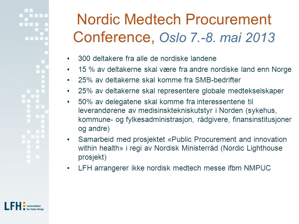 Nordic Medtech Procurement Conference, Oslo 7.-8.