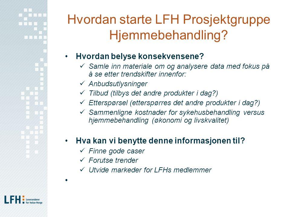 Hvordan starte LFH Prosjektgruppe Hjemmebehandling? Hvordan belyse konsekvensene? Samle inn materiale om og analysere data med fokus på å se etter tre
