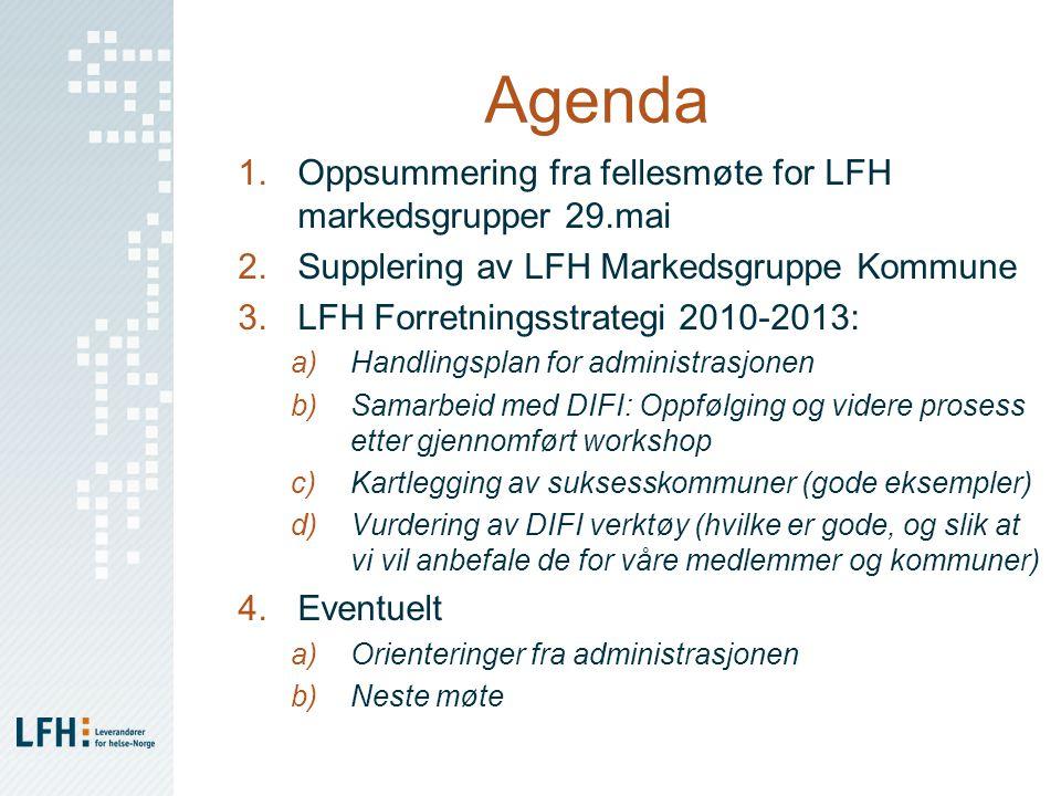 Agenda 1.Oppsummering fra fellesmøte for LFH markedsgrupper 29.mai 2.Supplering av LFH Markedsgruppe Kommune 3.LFH Forretningsstrategi 2010-2013: a)Handlingsplan for administrasjonen b)Samarbeid med DIFI: Oppfølging og videre prosess etter gjennomført workshop c)Kartlegging av suksesskommuner (gode eksempler) d)Vurdering av DIFI verktøy (hvilke er gode, og slik at vi vil anbefale de for våre medlemmer og kommuner) 4.Eventuelt a)Orienteringer fra administrasjonen b)Neste møte