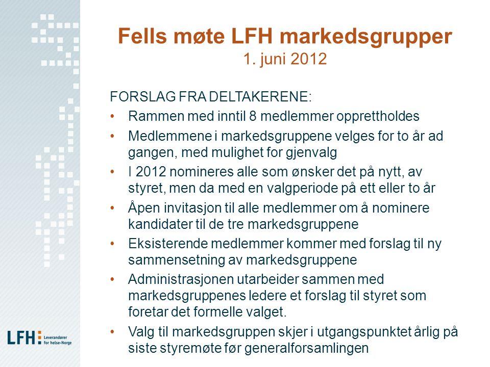 Fells møte LFH markedsgrupper 1. juni 2012 FORSLAG FRA DELTAKERENE: Rammen med inntil 8 medlemmer opprettholdes Medlemmene i markedsgruppene velges fo