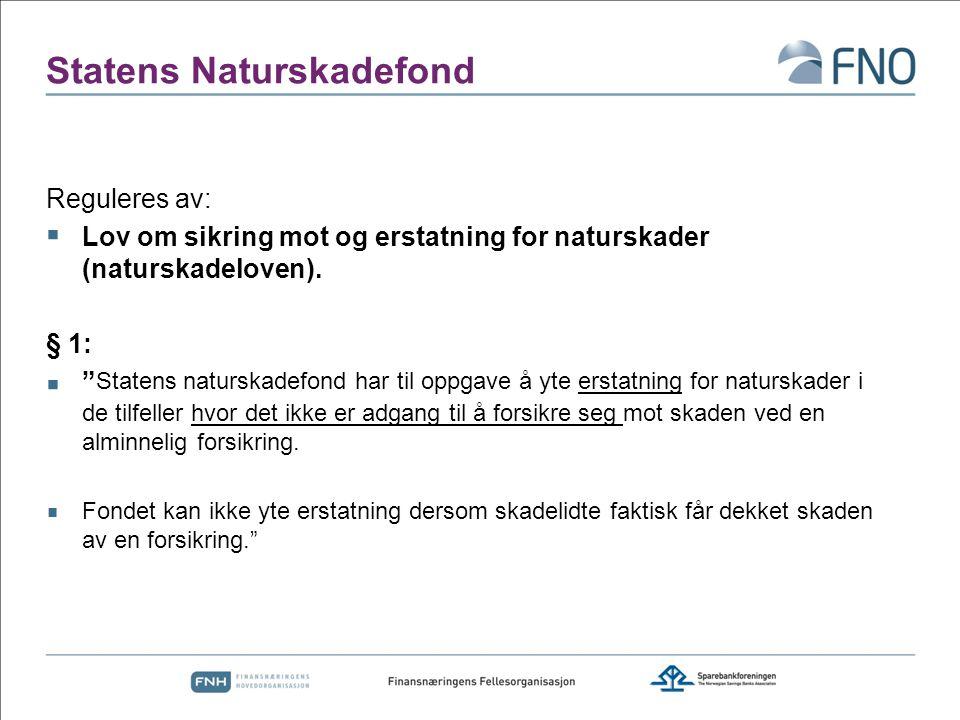 """Statens Naturskadefond Reguleres av:  Lov om sikring mot og erstatning for naturskader (naturskadeloven). § 1:  """" Statens naturskadefond har til opp"""