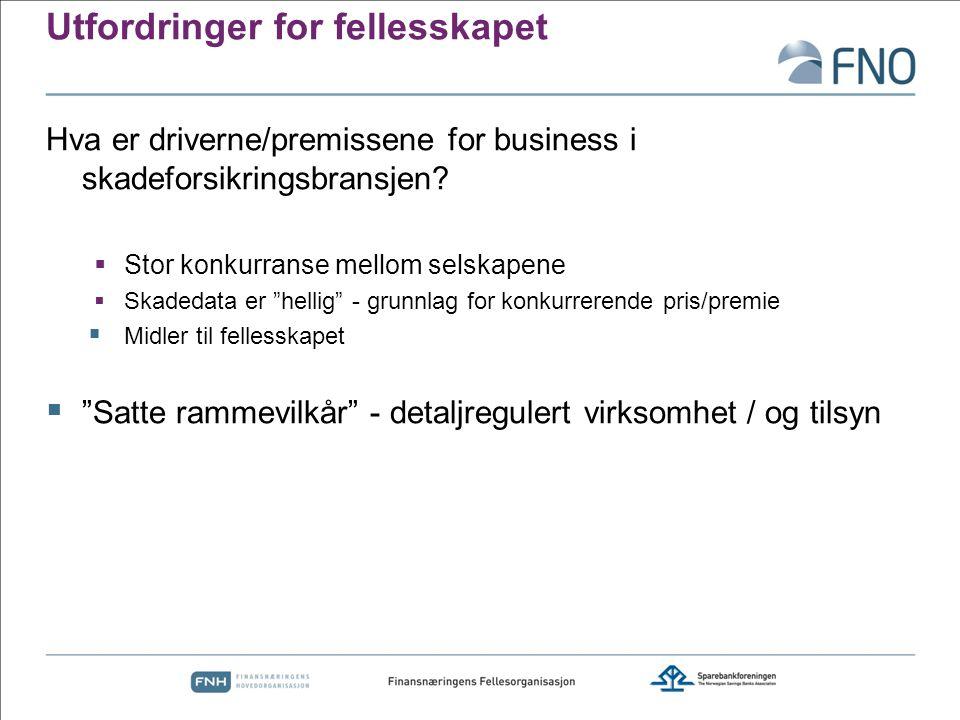 Utfordringer for fellesskapet Hva er driverne/premissene for business i skadeforsikringsbransjen?  Stor konkurranse mellom selskapene  Skadedata er