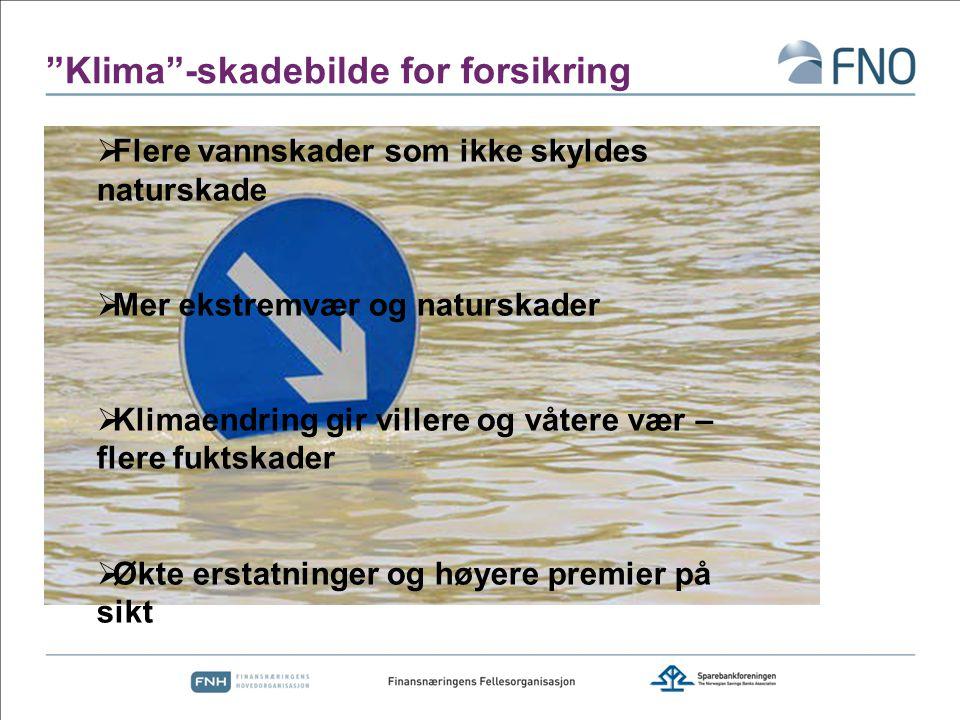 Flere og hyppigere skader Kilde: Gjensidige/Norsk regnsentral Frekvensskader øker med 10 prosent – mellomlang sikt 30 prosent økning - slutten av århundre Store regionale forskjeller