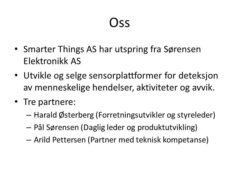 Oss Smarter Things AS har utspring fra Sørensen Elektronikk AS Utvikle og selge sensorplattformer for deteksjon av menneskelige hendelser, aktiviteter og avvik.